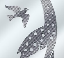 Giraffe and bird - perforated sheet design by fuxart