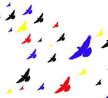 Colored Birds in the Clouds by Mark McElroy