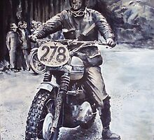 Steve McQueen 1964 ISDT East Germany by robkinseyart