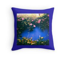 creepy vine on blue feature wall Throw Pillow