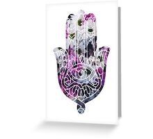Pink and White Flower Hamsa Greeting Card