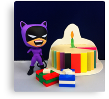 Retro Catwoman Birthday Canvas Print