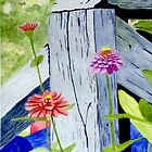 Flowers Around the Deck by Susan Beecham by CoastalCarolina
