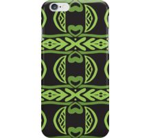 Green shapes on a black background pattern iPhone Case/Skin