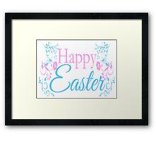Happy Easter Flowers Design Framed Print