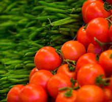 Green Beans and Tomatoes, La Boqueria, Barcelona, Spain by Daniel Webb