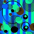 Blue Green Stripes Dots by bloomingvine