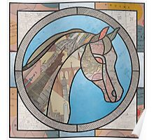 Stained Glass Map Horse Poster
