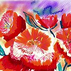 Red poppies in loose abstract  by Anna  Lewis