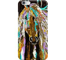 Horse Abstract Brown Blue Gold  iPhone Case/Skin