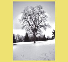 Tree in Landscape, Early Spring with Snow  Kids Clothes