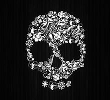 Floral Skull Wood Texture by EllieDahlena