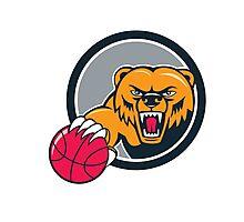 Grizzly Bear Angry Head Basketball Cartoon Photographic Print