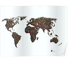 A S L ... I Love You World Map  Poster