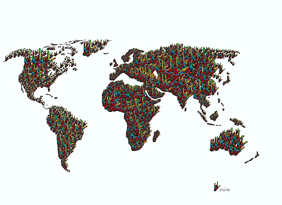 A S L ... I Love You World Map  by EloiseArt
