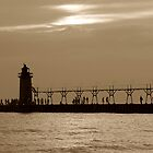 South Haven Light House at Dusk by enchantedImages