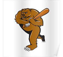 Grizzly Bear Baseball Player Batting Cartoon Poster