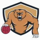 Grizzly Bear Angry Dribbling Basketball Shield Cartoon by patrimonio