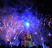 Disneyland Paris Castle Fireworks  by Lewkeisthename