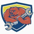 Grizzly Bear Mechanic Spanner Shield Cartoon  by patrimonio