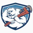 Polar Bear Plumber Monkey Wrench Shield Cartoon by patrimonio