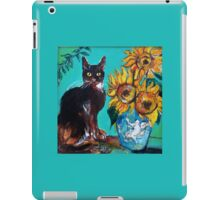 SUNFLOWERS WITH BLACK CAT IN BLUE TURQUOISE  iPad Case/Skin
