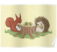 Squirrel and Hedgehog Poster