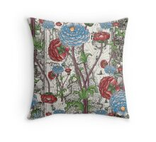 flower and map 1 Throw Pillow