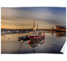 Newhaven Fishing Boat and Lighthouse Poster