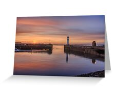Newhaven lighthouse in the Gloaming Greeting Card