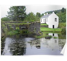 Cottage and Stone Ruins on the Crinan Canal Poster