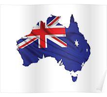Australia Flag Map Poster
