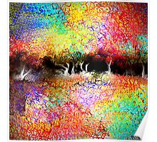 Abstract Landscape in Bright Colors Poster