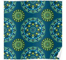 Ornamental pattern in blue and green tones Poster