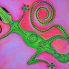 Desert Jewel | Bright, colorful, funky, gecko (lizard) original artwork painting by pamelacisneros