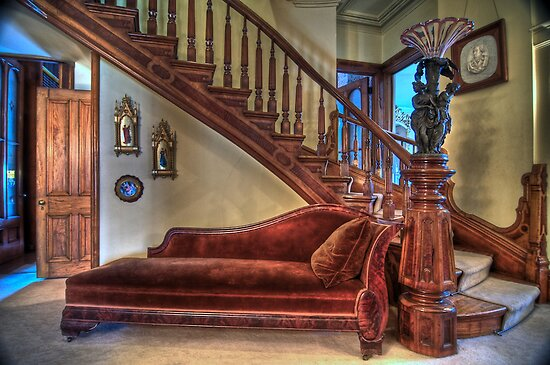 Grand Staircase 1800's Home by Cathryn  Lahm