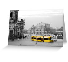 Modern yellow tram at a historical location  Greeting Card
