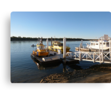 Sea Rescue & Lifeguard Boats at Wharf, Tin Can Bay. Qld. Aust. Canvas Print
