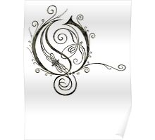 LATTICE LETTER O - dirty black and grey Poster