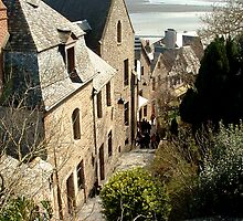 The streets of Mont St Michel, France by triciamary