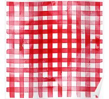 Watercolor Red Gingham Plaid Poster