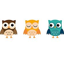 Cute Owls Chibi Photographic Print