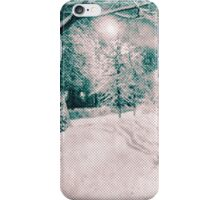 Winter wonderland. Night snowy street in pink and blue tones with halftone effect iPhone Case/Skin