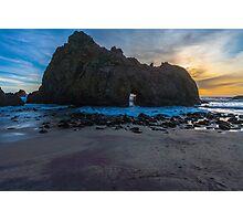 Pfifer Beach Sunset Keyhole Rock, Big Sur, California Photographic Print