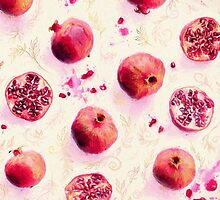 Painted Pomegranates with Gold Leaf Pattern by micklyn