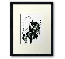 Timid Bison,Canadian Animal, acrylic illustration Framed Print