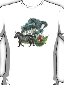Dancing Zebra Losts in Blue Dizzy Fungi Forest T-Shirt