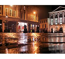 Reflecting the street lamps Photographic Print