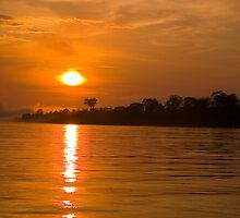 Sunset Amazon River, Peru by juan jose Gabaldon