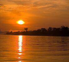 Sunset Amazon River, Peru by juan jose Gabaldon